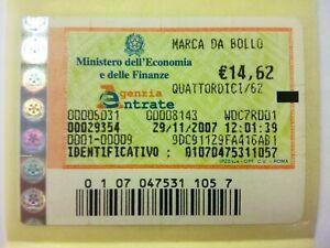 MARCA DA BOLLO da € 14,62. ANNO 2007 Novembre VALIDA e ORIGINALE TELEMATICA