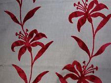 """HARLEQUIN """"HANA"""" 2.7 Metres (270cm) CUT VELVET designer fabric RED/LINEN"""