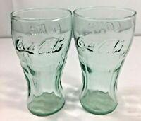 Vintage Set Of 2 Libbey Coke A Cola 4 Oz Green Embossed Juice Glasses