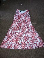 Talbots Red Floral Sleeveless Dress Size 12 Cotton Silk Blend