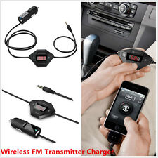 Car Stereo Call 3.5mmAudio Wireless FM Transmitter LED Display with USB Charger