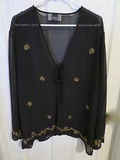 Women's Slinky Brand Sheer Black Open Tie Front Blouse Gold Sequin Plus Size 3X
