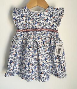 Matalan Smocked Baby Dress BNWT Size 3-6 Months Blue Red Floral Print