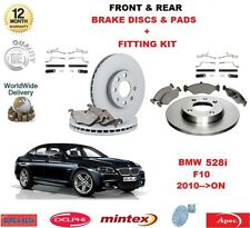 FOR BMW 528i F10 2010 >ON FRONT & REAR BRAKE PADS DISCS & FITTING KIT