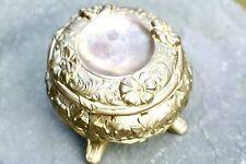 """Antique Gold Art Nouveau 4"""" Victorian Wild Rose Jewelry Casket Box 1905-1915"""
