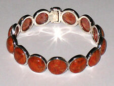 *BIG SALE* ARTISAN CRAFTED RED CORAL STERLING SILVER HINGED CUFF BRACELET 7-7.5