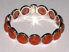 Artisan Crafted Orange Coral Sterling Silver Hinged Cuff Bracelet 7-7.5 inches