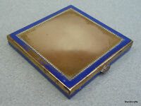 Ladies Powder Compact c1940s Blue Enamel Paint unsigned Square Brass Vtg as is