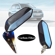 Pair Carbon Fiber Blue Manual Adjustment Retro F1 Style Car Rear View Mirror Kit