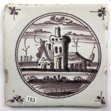 "Antike Fliese Kachel Delfter dutch tile "" Landschaptstegel "" 18./19. Jhd. Mangan"