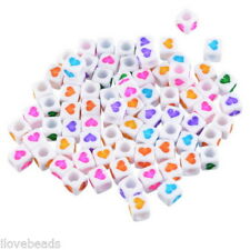 300PCs Mixed White Acrylic Beads Heart Pattern Cube Beads DIY 6x6mm