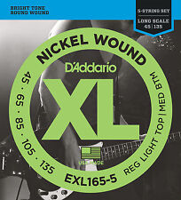 D'Addario EXL165-5 5-String Nickel Wound Bass Guitar Strings, Custom Light, 45-1