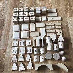 Treehaus CASTLE BLOCKS Solid Wood 75 Piece Complete used Set creative building