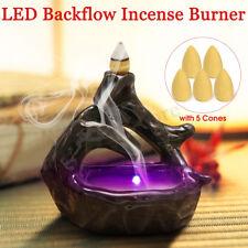 Handmade Backflow Ceramic Glaze Incense Smoke Cone Burner Holder With 5