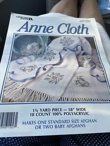 """White Anne Cloth Cross Stitch Afghan or Makes 2 Baby Size 18 count 45x58"""""""