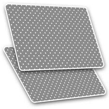 2 x Rectangle Stickers 7.5cm  - Grey White Polka Dots Pattern Cute  #45252
