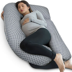 PharMeDoc Full Body U Shaped Pregnancy Pillow - Grey Star Pattern w/ Travel Bag