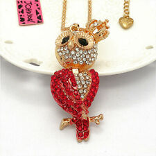 Cute Big Eyes Red Crystal Owl Crown Pendant Betsey Johnson Long Chain Necklace