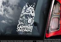 German Shepherd -Car Window Sticker- Long Haired Alsation GSD Dog Art Sign -TYP3