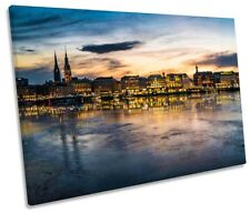 Hamburg Skyline City Framed SINGLE CANVAS PRINT Wall Art