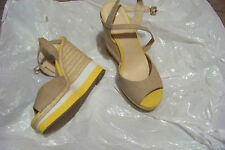womens elle everly yellow wedge heels shoes size 9 1/2