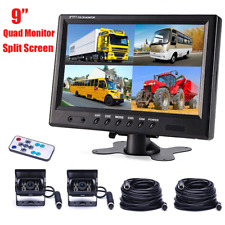 """9"""" Quad Split Screen Monitor 2x Backup Rear View CCD Camera System For Truck RV"""