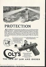 1924 COLT handgun advertisement, Automatic pistol, lighthouse