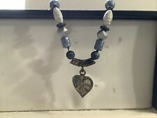 Necklace With Metal & Unknown Beads Heart Pendant