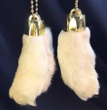 2 x Real Rabbit Foot Lucky Keychain NATURAL WHITE Vraie Patte de Lapin Chanceuse