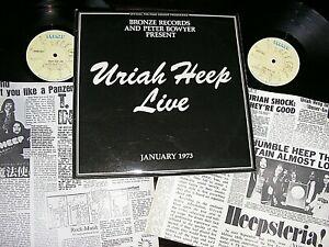 URIAH HEEP-    Live,    ORIGINAL 1973 UK DOUBLE-LP + BOOK / inners.... NICE COPY