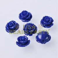 New 10pcs 12mm Rose Flower Synthetic Coral Charms Loose Spacer Beads Royal Blue