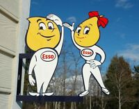 OLD STYLE ESSO MOTOR OIL DROP BOY & GIRL DICUT FLANGE THICK STEEL SIGN USA MADE