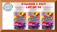 Stacker 3 Extreme Energizer Weight Loss 20ct Bottle (Lot 3 X)= 60 Capsules