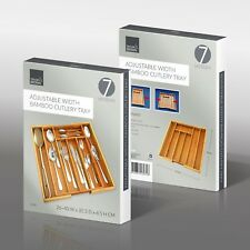 New Adjustable Bamboo Wooden Cutlery Utensils Tray Storage Drawer 7 Sections