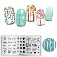 Harunouta Rectangle Nagel Stamping Schablone Flowers Nail Stempel Schablone L071