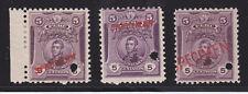 Peru Sc 180 Mlh. 1909 5c San Martin, 3 diff Specimen