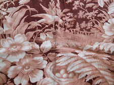 Antique Brown French Bird Nest Foxglove Ferns Berries Floral Toile Cotton Fabric