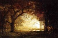 Dream-art Oil painting impressionism landscape Forest Sunrise hand painted 36""