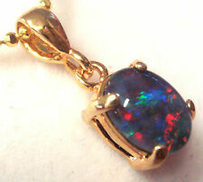 Mother's Day Australia Opal Natural Black Triplet Opal Pendant Solid 925 Silver