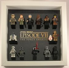 Lego Star Wars The Force Awakens minifigure Display Case Frame + custom Figures