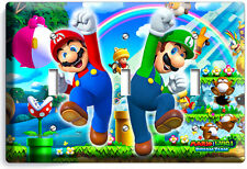 SUPER MARIO AND LUIGI BROS TRIPLE LIGHT SWITCH WALL PLATE COVER GAME ROOM DECOR