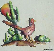Roadrunner and Saguaro Cactus Metal Art 3D Wall Sculpture Indoor Patio or Garden