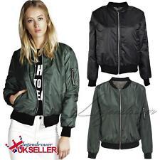 UK Womens Ladies Classic Casual Bomber Jacket Vintage Zip up Biker Outwear Coats