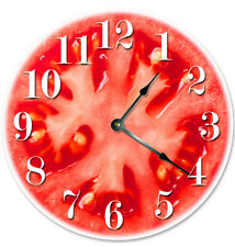 """12"""" RED TOMATO VEGETABLE CLOCK - Large 12 inch Wall Clock - Printed Decal Image"""