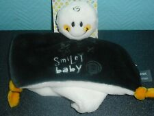 Doudou Plat Smiley Baby Carré Gris Anthracite Blanc Jaune Orchestra Neuf
