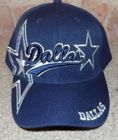 Dallas  Blue Hat Cap Script Visor Embroidered Signature Double Cowboys Star