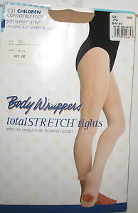 BODY WRAPPERS -CONVERTIBLE FOOT TIGHTS - BEIGE - CHILD'S  SM / MED   4 - 7 - C31