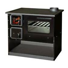 Wood Burning Cooking Stove 9/14 kw power Solid Fuel Cooker Black Enameled
