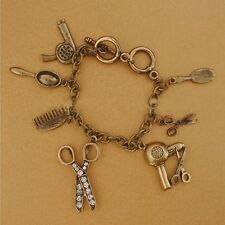 Art Rhinestone Hand Shear Hair Drier Scissors Comb Charm Bracelet Retro Style