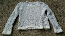Circo Sweater size large L 10-12 - cream/gray/fuzzy sweater